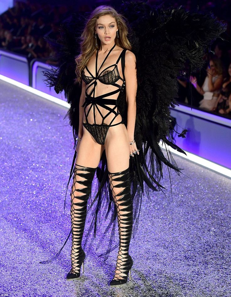 Must have fallen from Heaven: Sashaying down the runway at the Grand Palais, Paris, in a variety of revealing lingerie sets, the 21-year-old beauty looked nothing short of sensational