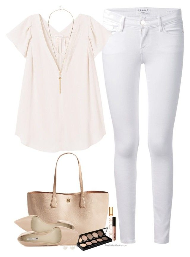 """""""Shell Pink , nude & white"""" by steffiestaffie ❤ liked on Polyvore featuring Frame Denim, Rebecca Taylor, Tory Burch, BCBGeneration, LORAC, Witchery, Accessorize and River Island"""