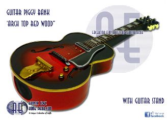Guitar Money Bank - Arch top Red Wood