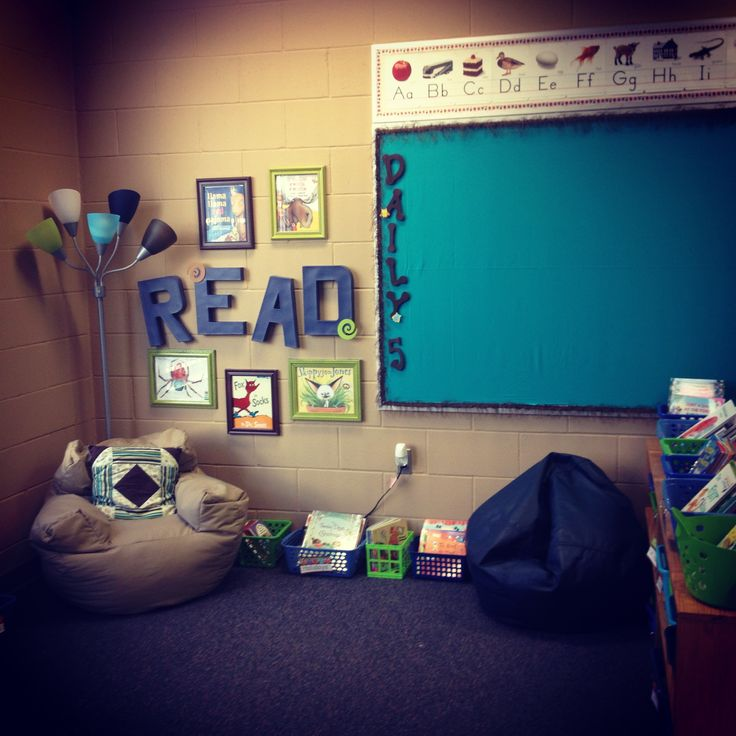 This pin is an example of a reading corner, which provides a comfortable and distraction free zone for a student to read, work on homework or just a spot to calm down and refocus for the student.  Can be extremely useful for a student who has EBD, giving him an area to calm down, and refocus him/herself.  This pin deals with just a classroom idea.