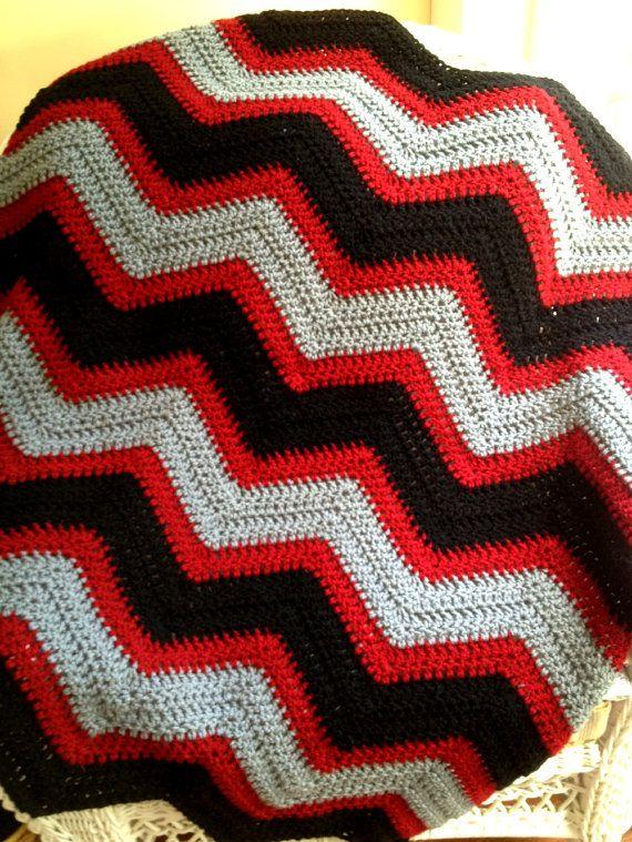 chevron zig zag baby blanket afghan wrap crochet knit wheelchair ripple stripes VANNA WHITE black grey red navajo yarn handmade in USA