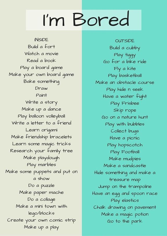 Bored? Try an activity from this boredom list!   Bullet