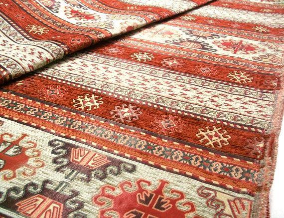 Ethnic Tribal Style Chenille Upholstery Fabric, Aztec Navajo Fabric, Geometric Design Kilim Fabric, Terracotta - Cream, Fat Quarter