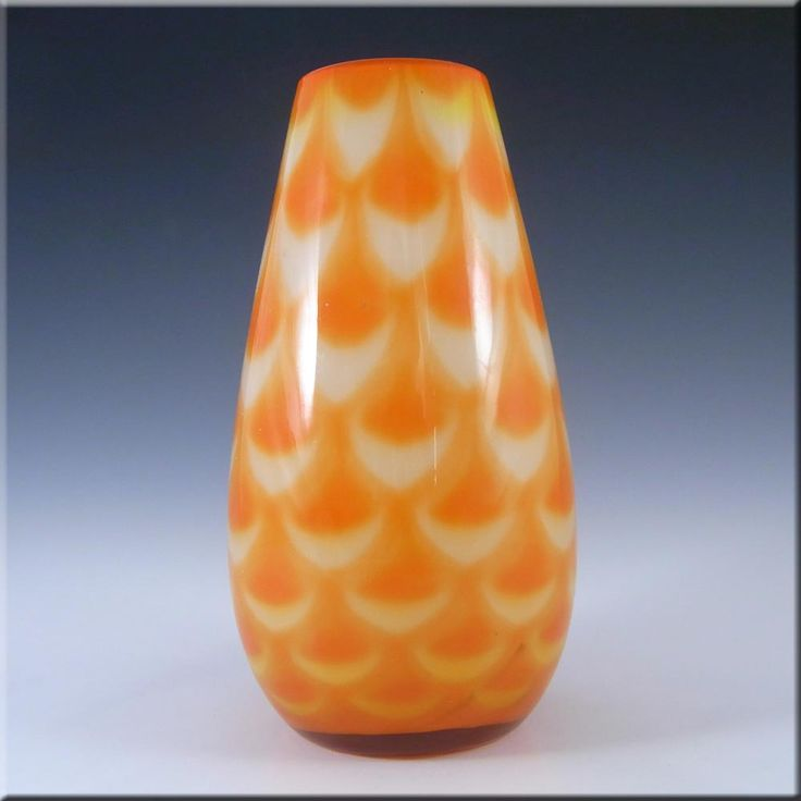 Elme 1970s Scandinavian Orange Cased Glass Peacock Vase - £50.00