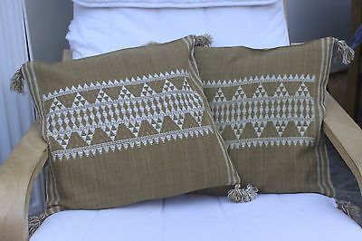 New 2 Olive Green Designer Cushion covers 100% wool Ethnic Jacquard Design 16""