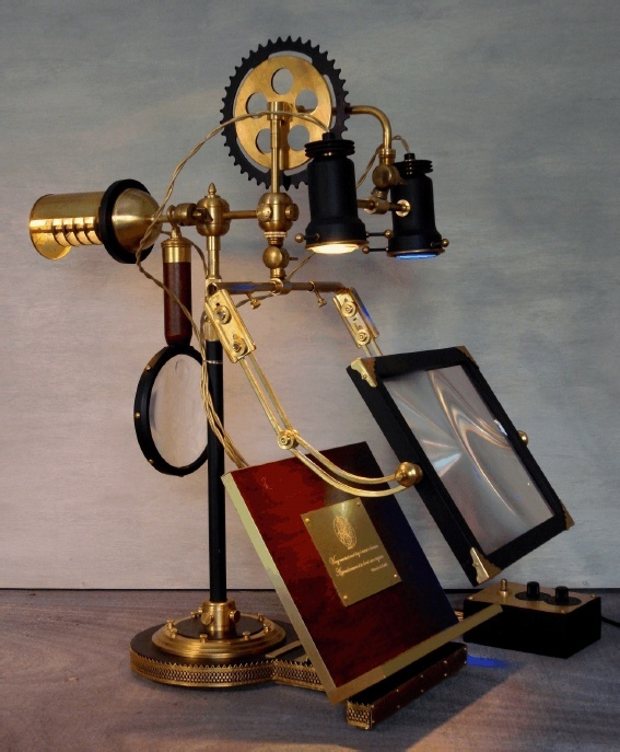 Steampunk book stand... with magnifying glass