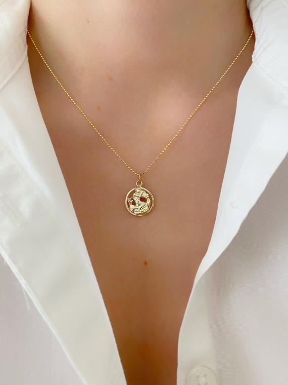 Gold Chain Necklace Zodiac Necklace Aquarius Pendant Necklace Horoscope Necklace Gold Necklace