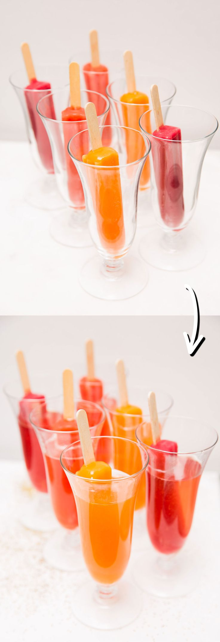 ICE POP CHAMPAGNE DRINKS: Cosmopolitan.com rounded up the best ways to make fun and festive champagne cocktails for your New Year's Eve celebrations. Here you'll find clever new ways to enjoy the bubbly drink, like this ice pop cocktail idea. Click through for the directions, and for more easy champagne and cocktail ideas and recipes you need to try!