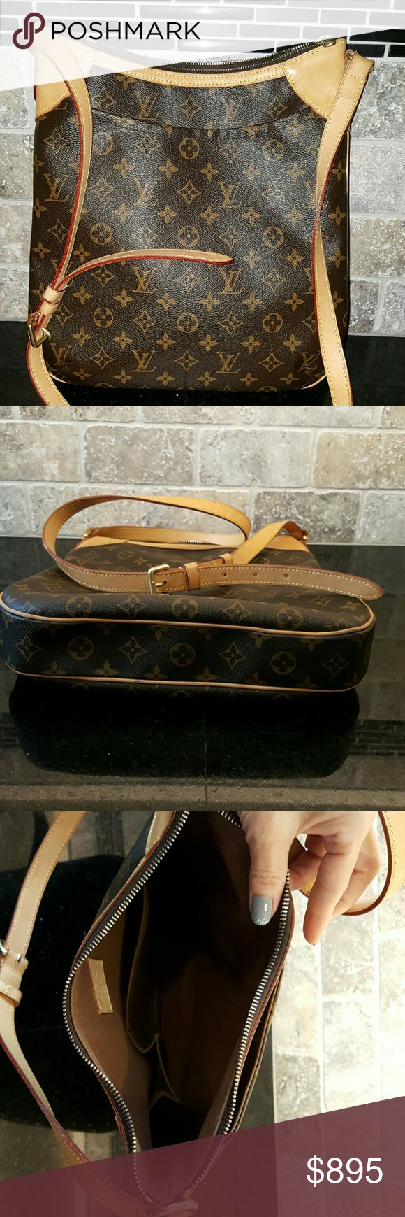 """Louis Vuitton Odeon MM  *Discontinued* Gently used monogram Louis Vuitton crossbody bag. Honeyed patina in good condition with some light water spotting, but nothing obvious. Clean odor-free canvas liner with 2 interior patch pockets.  Dust bag included. 13""""L x 12""""H x 2""""W.   No trades or insulting offers, please. Louis Vuitton Bags Crossbody Bags"""