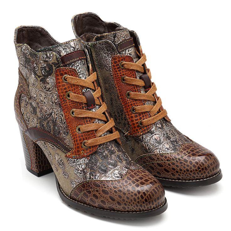 SOCOFY Desert Genuine Leather Splicing Zipper Ankle Square ...