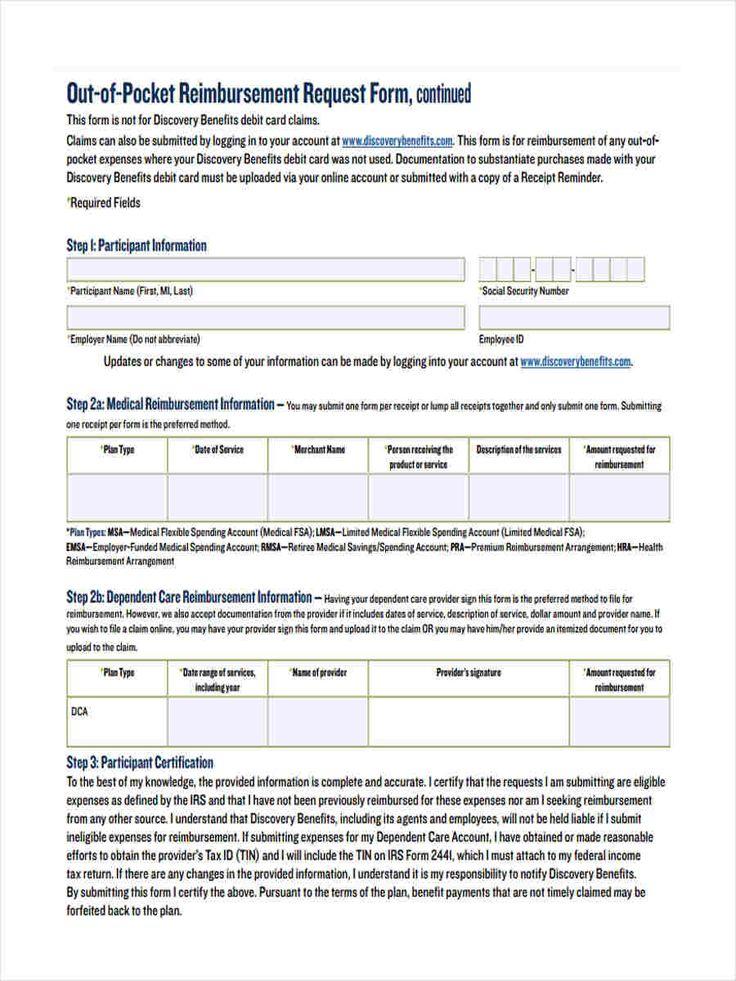 request reimbursement form free documents word pdf out pocket - reimbursement request form