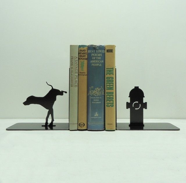 Knob Creek Metal Arts has a really great collection of bookends for sale over on Etsy, the visuals are just fantastic. This isn't an advertisement, I just think they're fantastic.