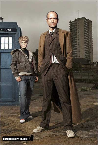 Star Trek Voyager's The Doctor (and sidekick Kes) as The Doctor and companion.  Nice.