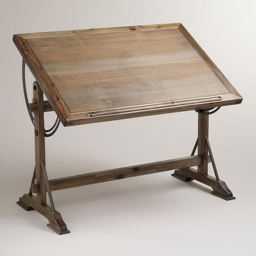 "WorldMarket.com: Drafting Desk. 48""W x 32.1""D x 35""H. It's actually too tall to be a dining table, and too wide for my niche, but really attractive. The idea is good. Mind the groove and ridge to catch pencils on one side."