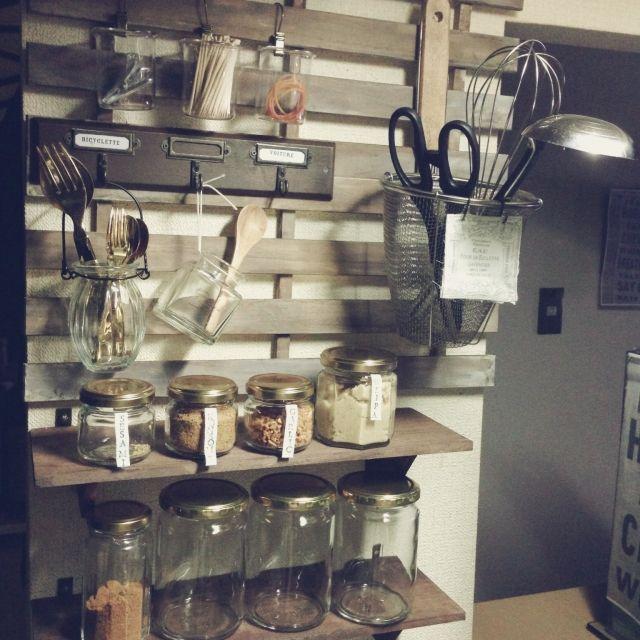 賃貸/DIY/キッチングッズ/キッチン収納/見せる収納/ナチュラルキッチン…などのインテリア実例 - 2014-11-08 18:21:59 | RoomClip(ルームクリップ)