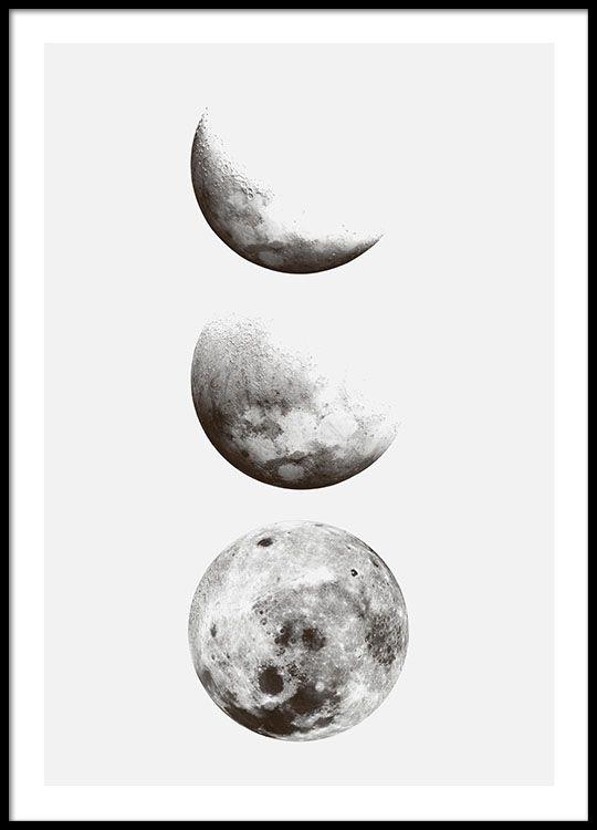 Schwarz-Weiß-Plakat mit Fotos vom Mond