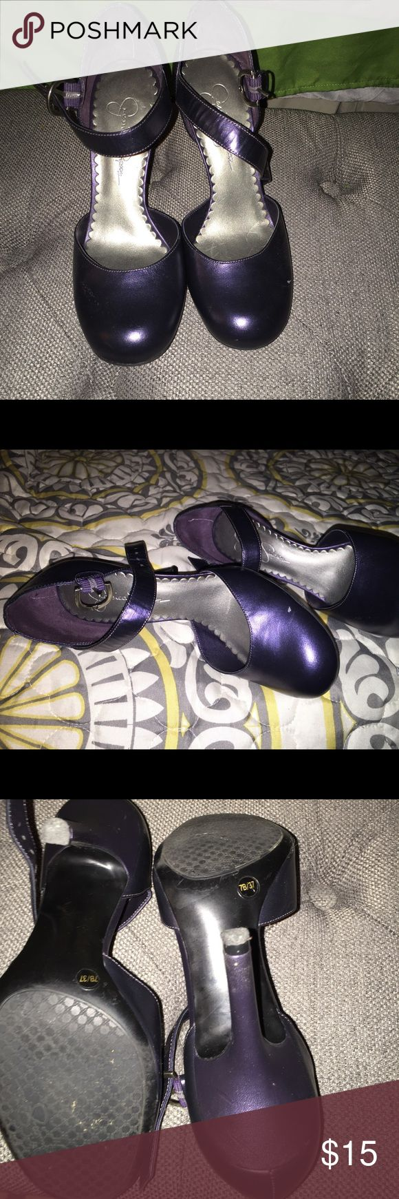 Dark purple Jessica Simpson heels Dark purple Jessica Simpson heel with a strap Jessica Simpson Shoes Heels