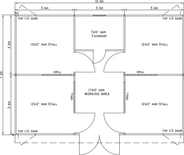 24 X 34 Small Horse Barn Layout