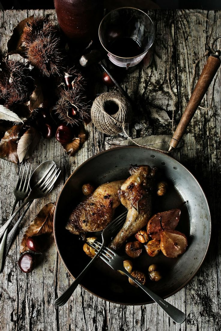 Chicken Thighs with Pears, Chestnuts, & Port Wine | Pratos e Travessas