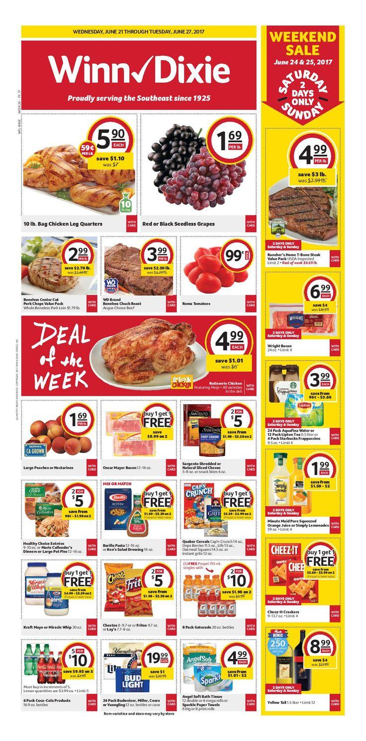 Winn Dixie Weekly Ad June 21 - 27, 2017 - http://www.olcatalog.com/grocery/winn-dixie-weekly-ad.html