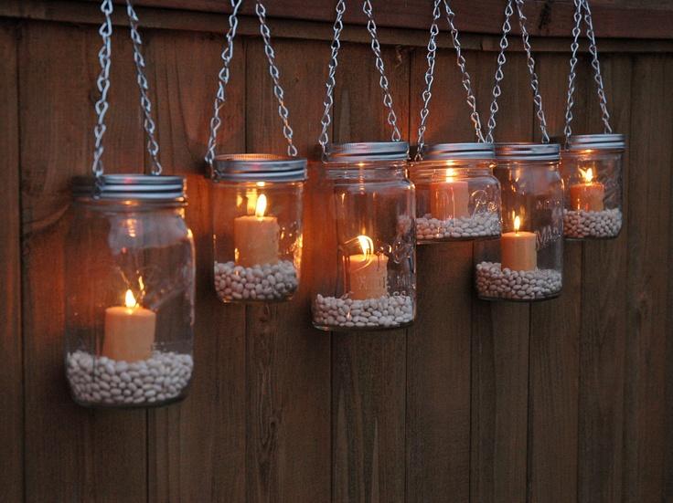 Mason Jar Lanterns Hanging Tea Light Luminaries: Wide Mouth, Light Luminaries, Silver Chains, Jar Style, Lanterns Hanging, Mason Jars, Mason Jar Lanterns, Hanging Tea Lights