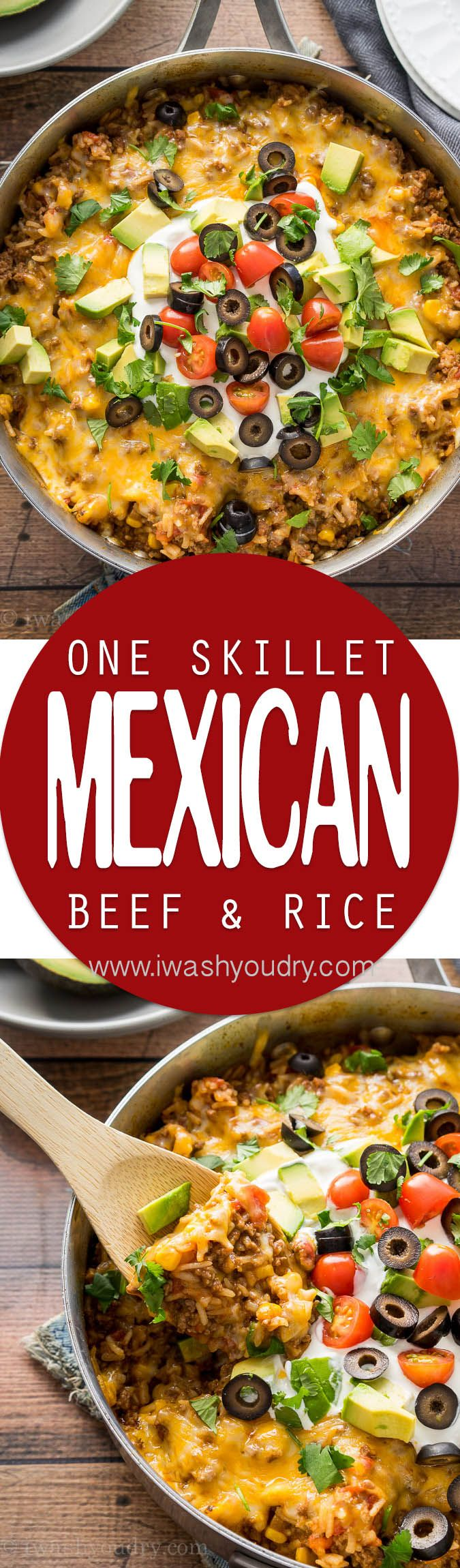 One Skillet Mexican Beef and Rice dinner recipe! Super quick and easy and eat the leftovers wrapped up in tortillas!