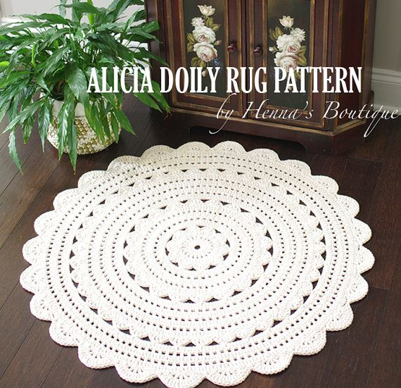 ~~~~ Pattern only, not a finished product ~~~~      This is a PDF pattern for ALICIA doily rug 35 inch. { Skill Level }  EASY ~ requires some