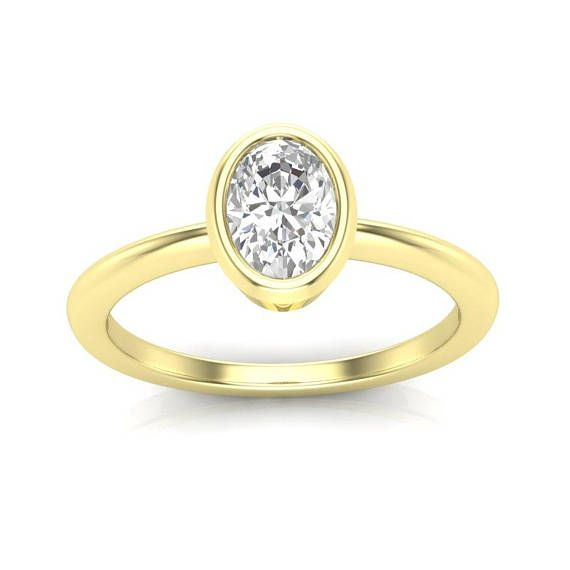 14k Oval Solitaire Engagement Ring Yellow Gold Ring Delicate