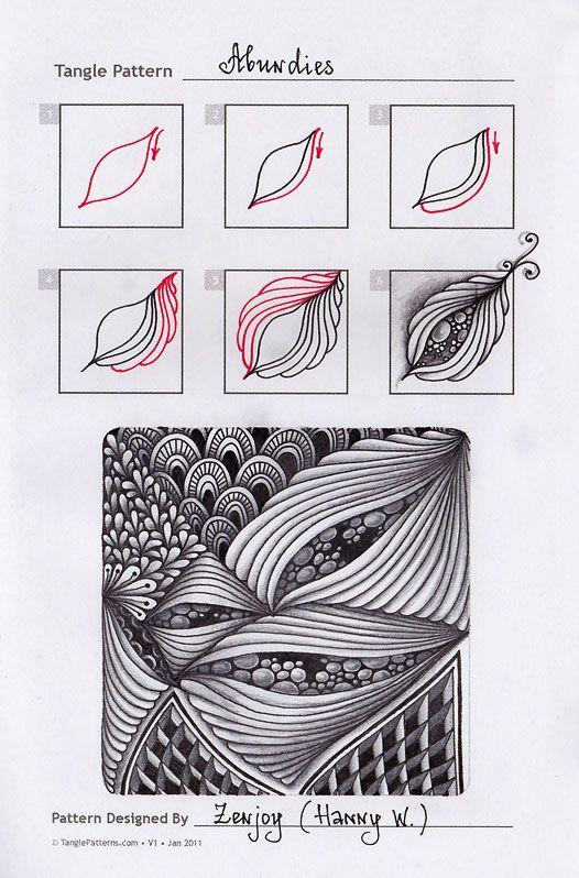 Zentangle. Обучение. Формат страницы: А5. Материалы: гелевая ручка, карандаш. Шаблонные странички с сайта TanglePatterns.com. Оригиналы уроков можно найти на вышеуказанном сайте - название паттерна и авторство подписано на картинке. Abundies tangle pattern