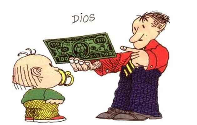 """(""""God"""")  Los mandamientos de la sociedad ...  Rules of Society...  Leis da Sociedade de hoje....  Des mandements de la société...  By Quino"""
