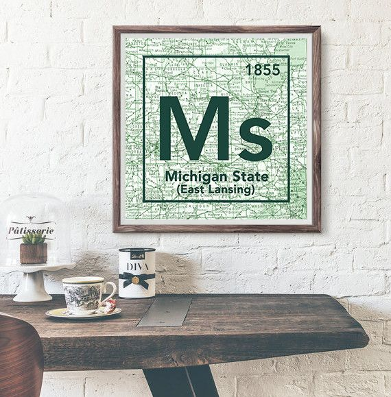 Michigan State University Spartans East Lansing- Vintage Periodic Map ART PRINT