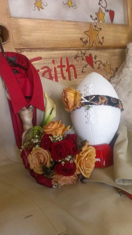 Red gold 49er football wedding theme bouquet