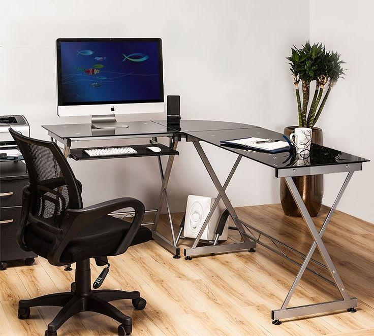Elegant Luxury Decor Ideas Home Office To Glass Corner Computer Desk With White  Wall Paint Color And. WandfarbenWeiße WaleComputertische Fürs ZuhauseDekor  ... Design