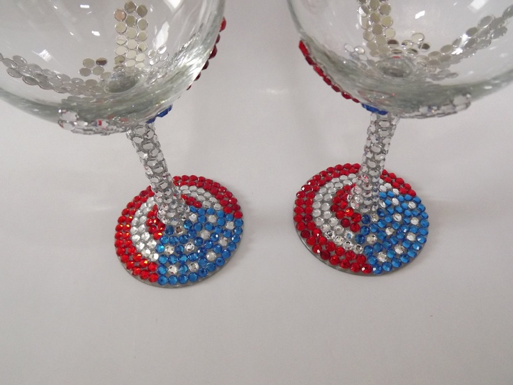 Perfect For 4th Of July Parties Rhinestone Wine Glass