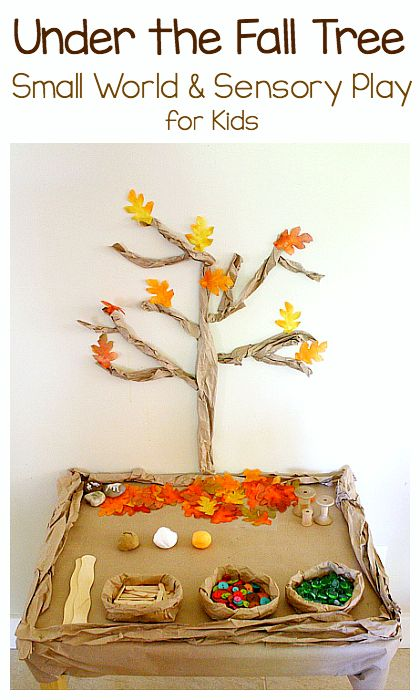 Under the Fall Tree Small World and Sensory Play: Set up this loose parts invitation to play perfect for autumn! A great way to encourage creativity and imaginative play! ~ BuggyandBuddy.com