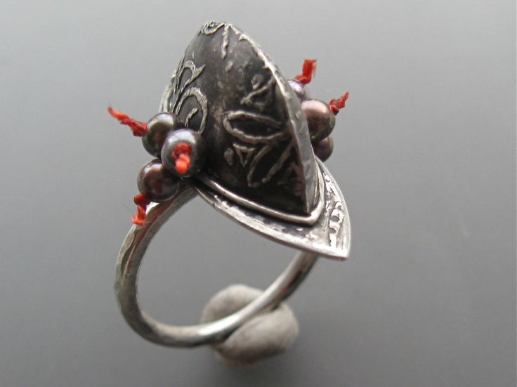 Lora Hart.  Sterling silver, metal clay, pearls and fabric