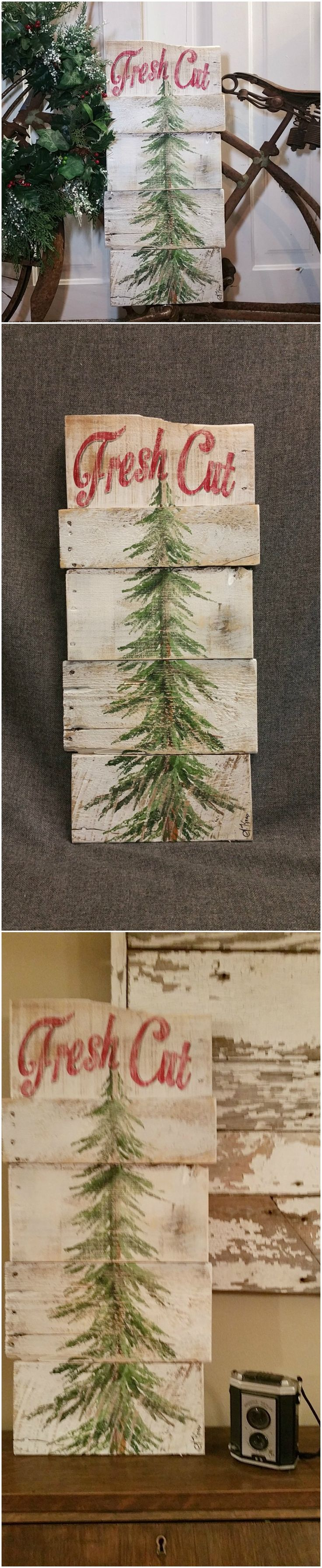 "Christmas tree for sale, white washed, Fresh Cut, Pine tree Reclaimed Pallet Art, christmas Hand painted, Shabbt chic, Distressed  Original Acrylic painting on reclaimed Pallet boards. This unique piece is 24"" x apprx. 12""  This heavily aged Christmas tree sign is on a white-washed background with the words ""Fresh Cut"" painted in red across the top. It is perfect for a personalized rustic touch to your Christmas decorating. Perfect for that skinny wall space or just lean it against the wall."