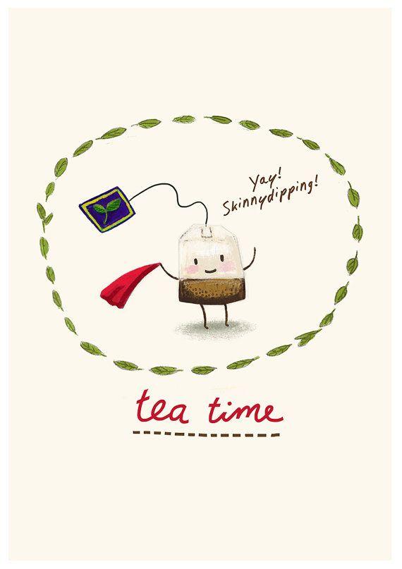 it's Teatime - schets digitaal gekleurd - Art Print - Thee - Theezakje - Keuken - Cartoon