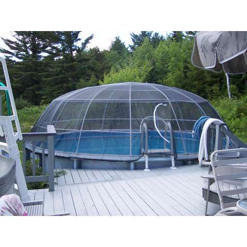 The pool igloo above ground pool screen cage system for Abrisud pool covers