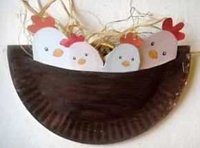 kuikennest gemaakt van een half kartonnen bordje en een zelfde vorm bruin karton erachter geplak