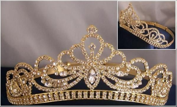 Miss Beauty Queen Pageant Rhinestone GOLD Crown Tiara A true classic Crown tiara, ideal for Pageants,Prom, Homecoming, Mardi Grass, Bridal, etc, 2 3/4 tall at t