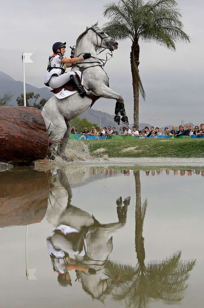 Right to refusal:    Gemma Tattersall of Britain has her horse, Quicklook V, refuse to make a jump in the equestrian eventing cross country phase on Aug. 8.