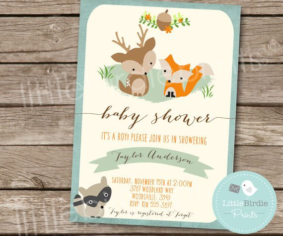 woodland baby shower invitation fox deer raccoon boy rustic style invitation woodland flowers forest printable file blue orange