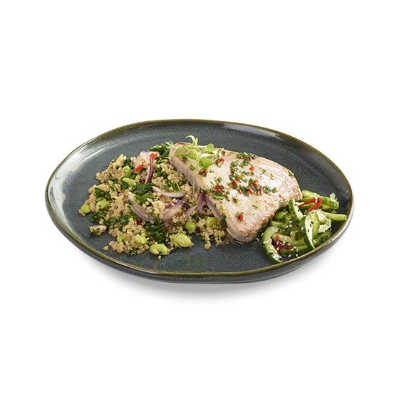 grilled tuna seared tuna steak on a bed of quinoa, kale, peppers, onion and edamame...