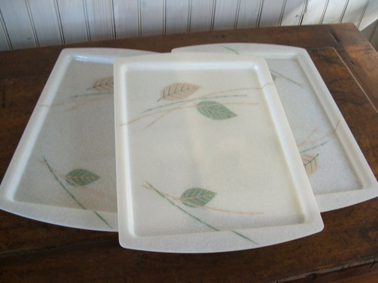 Vintage Plastic Serving Trays Green Gold Ivory Bamboo Leaves Barware Princess Brand by lookonmytreasures on Etsy