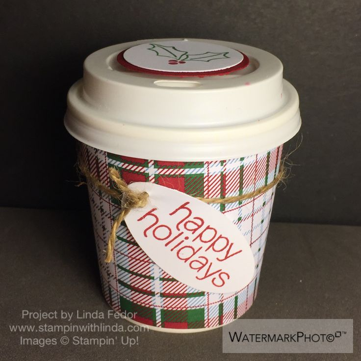 Plaid Mini Coffee Cup Treat Containers Using Stampin' Up! November 2015 Mistletoe & Holly Paper Pumpkin Stamps/ www.stampinwithlinda.com