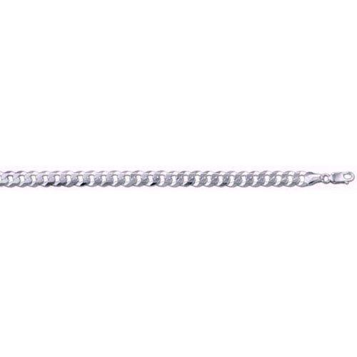 MENS Flat Curb Link Sterling Silver Bracelet - GENTS Bracelet