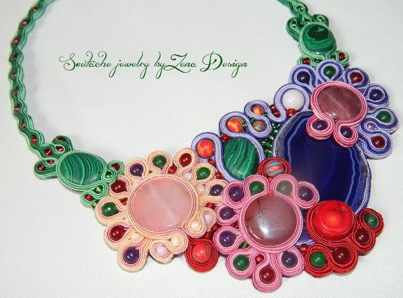 Soutache Necklace Joy of colors  handmade jewelry by SoutacheZena