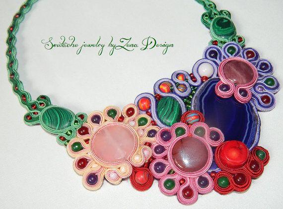 Soutache Necklace Joy of colors  handmade jewelry by SoutacheZena