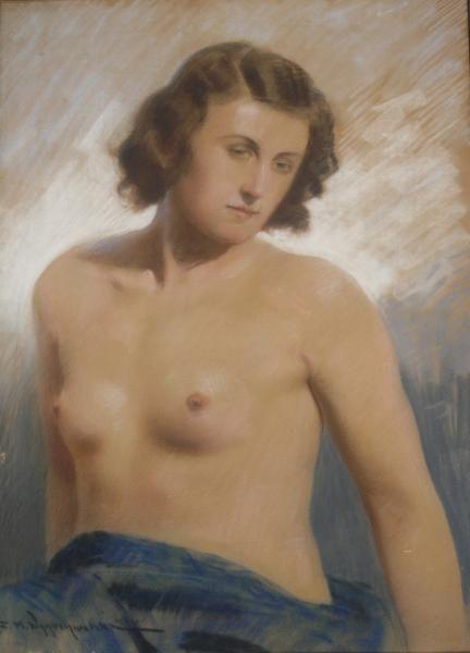 Feliks Michał WYGRZYWALSKI ,Półakt kobiety , pastel, tektura, 70 x 50 cm